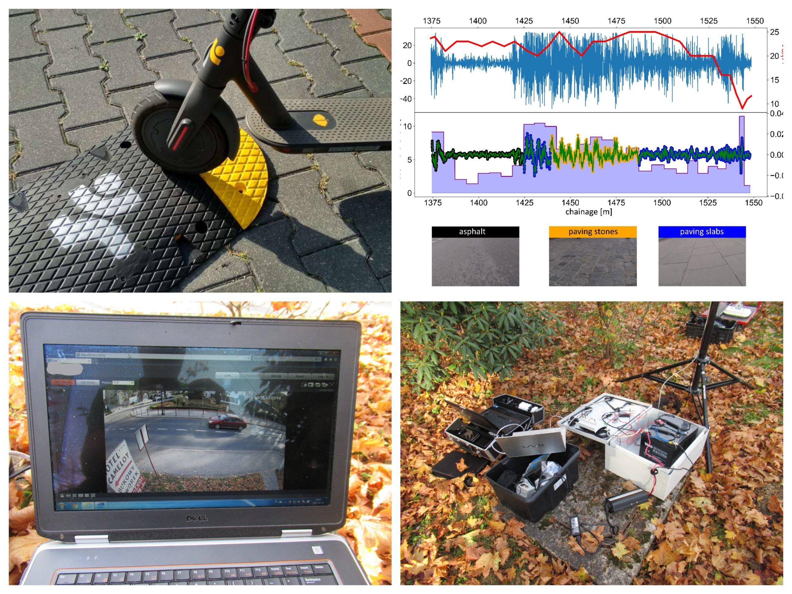 Pomiary chodników za pomocą hulajnogi elektrycznej i aplikacji OSIKA