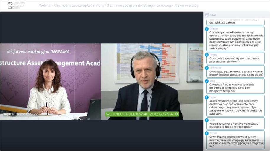 Wojciech Folejewski oraz Agata Ciołkosz-Styk podczas webinarium: Czy można zaoszczędzić miliony, o zmianie podejścia do letniego i zimowego utrzymania dróg