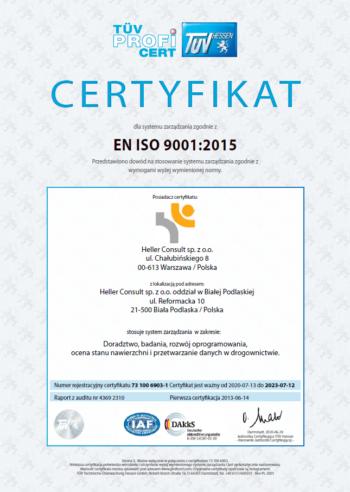 Certyfikat dla Heller Consult zgodnie z normą ISO 9001:2015