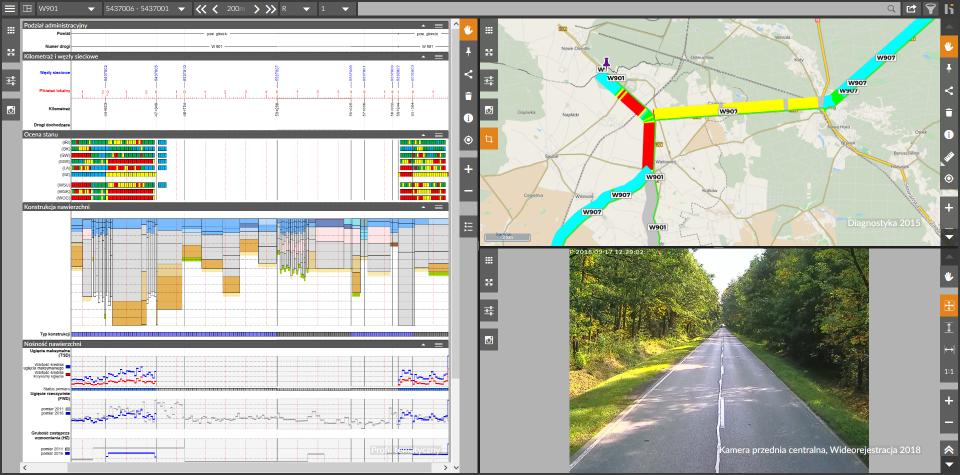 wizualizacja danych drogowych w systemie OnKo3