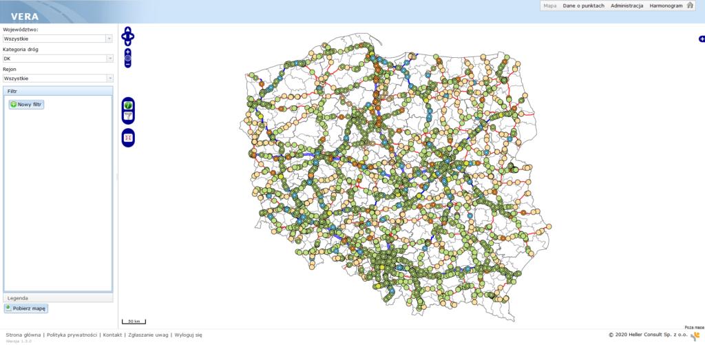 Mapa z zaznaczonymi punktami pomiarowymi w aplikacji VERA