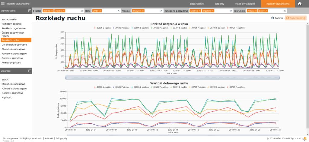 Rozkład ruchu przedstawiony na raporcie dynamicznym w aplikacji VERA