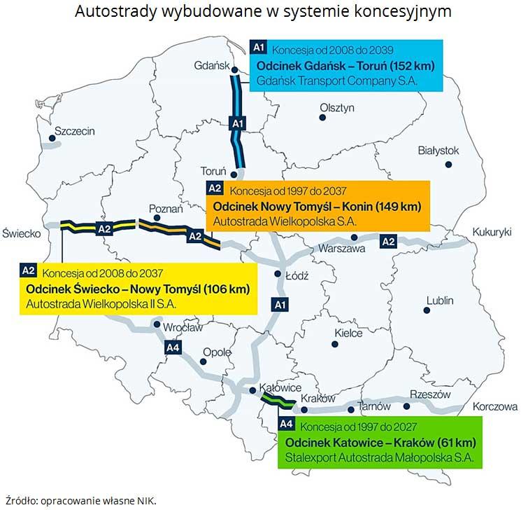 Mapa autostrad koncesyjnych w Polsce