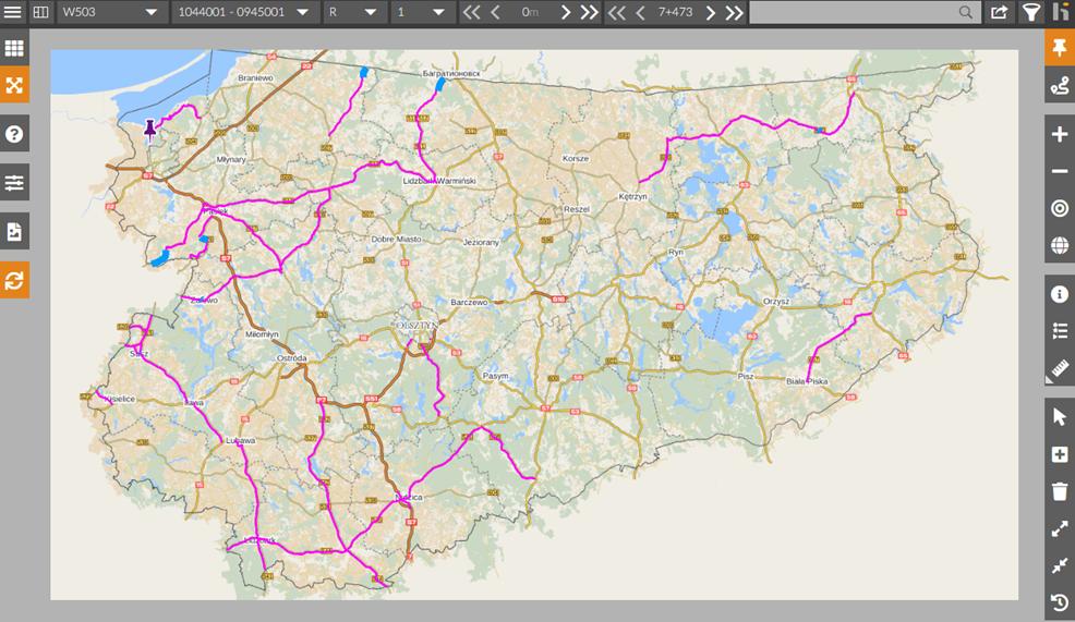 Mapa prezentująca zakres kampanii diagnostycznej w 2020 roku (widok z systemu udostępniania informacji drogowej OnKo3)