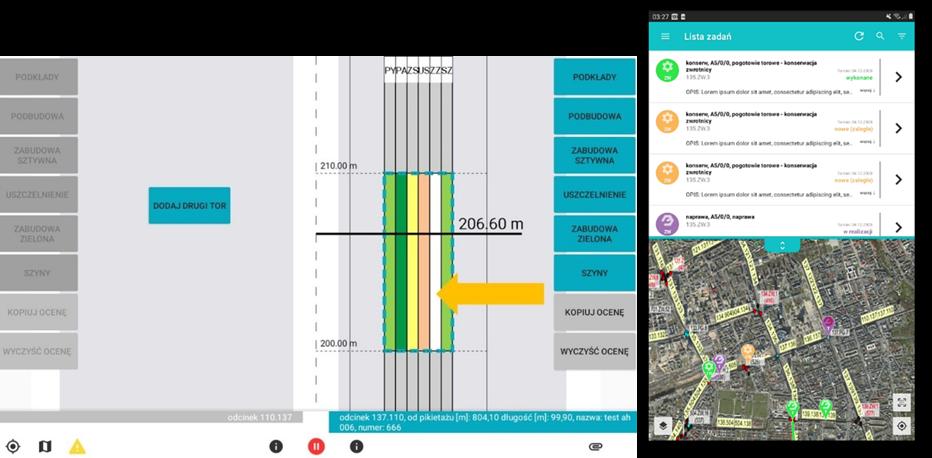 Okna aplikacji mobilnej INFRATRAM